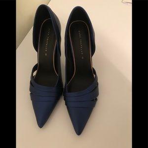 Zara new asymmetric high heel court shoes size 39